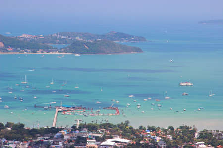 High angle view beautiful landscape of Ao Chalong bay and city sea side at Phuket island, Thailand.