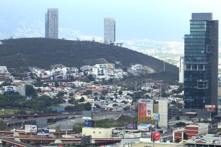 View of the city of San Pedro Garza on a cloudy day in Mexico