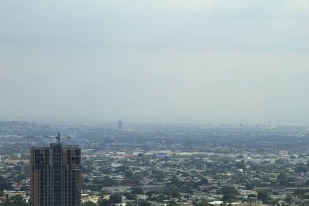 View of the city on a cloudy day