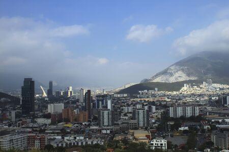 Flagstaff in Monterrey view of the Buildings of San Pedro Garza Reklamní fotografie