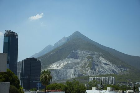 View of the Monterrey mountains and their buildings