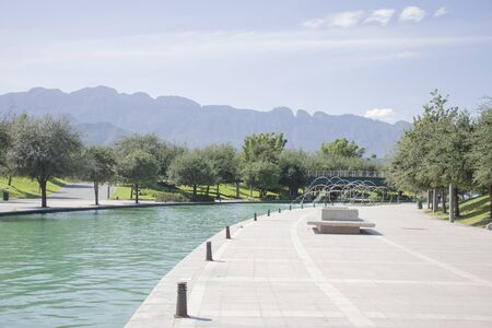 View of the Lake from Paseo Santa Lucia Monterrey Banque d'images