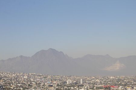 View of the progress in pollution in the city of Monterrey Mexico