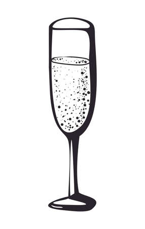 Vector doodle hand drawn sketch black illustration of champagne glass, sparkling wine drink cheers symbol sign line icon on white background