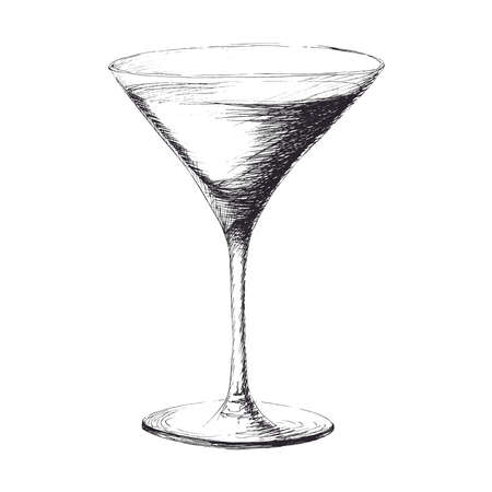 Vector monochrome hand drawn sketch illustration of martini glass coctail wineglass isolated on white background.