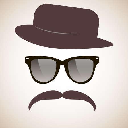 Hipster  Glasses, mustache, hat  Vector  Illusztráció