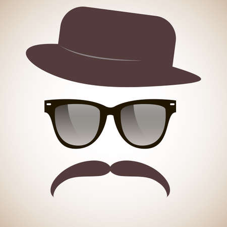 Hipster  Glasses, mustache, hat  Vector  Vector