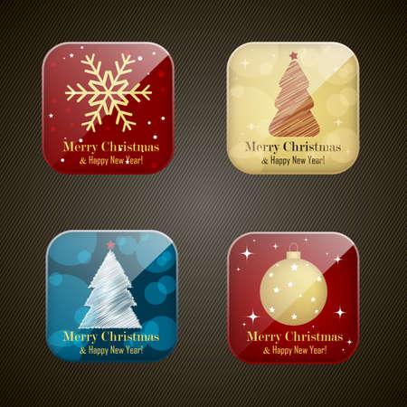 backwards: Kerstmis en Nieuwjaar app iconen, set Stock Illustratie