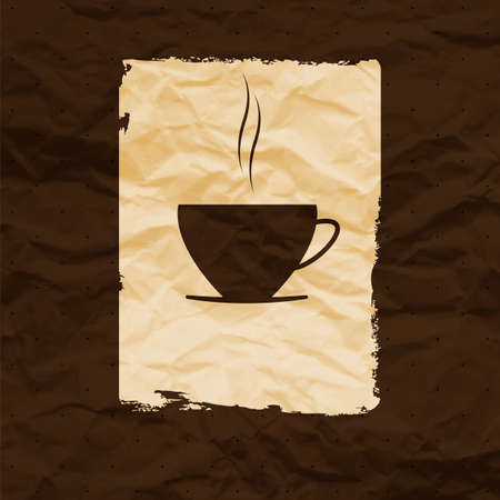 Cup of coffee or tea isolated on vintage background. Crumpled paper. eps 10