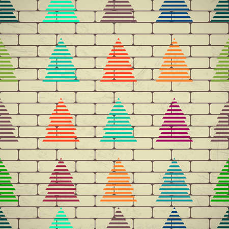 Christmas trees on a brick wall.  Grunge background. Seamless Vector