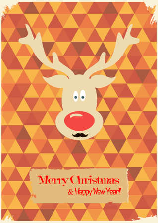 Illustration of Christmas funny deer with a mustache. Hipster Christmas. Retro Merry Christmas and New Years Card. Vintage style. Vector illustration Vector
