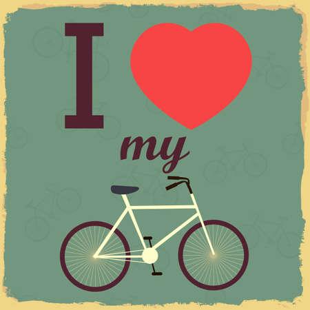 Bicicleta Ilustración Retro. Yo amo a mi bicicleta