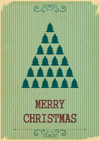 Retro Merry Christmas with Christmas Trees on a Vintage background. Vector illustration. Vintage style. Vector