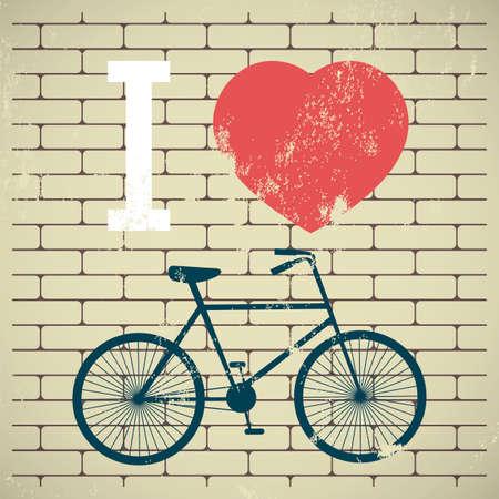 Illustration bicycle over grunge brick wall. I love my bicycle. City bike. Ilustração