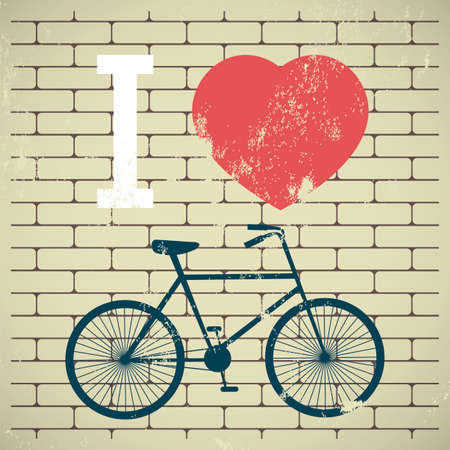 Illustration bicycle over grunge brick wall. I love my bicycle. City bike. Vector