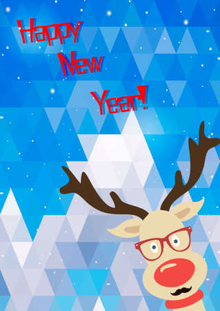 Illustration of Christmas funny deer. Background of triangles. New year card. Cartoon deer. Vector