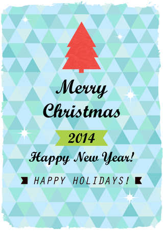 Merry Christmas and Happy New Year card. Retro style Vector