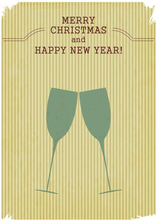Retro Merry Christmas and New Years Card with champagne glasses. Vintage style. Vector