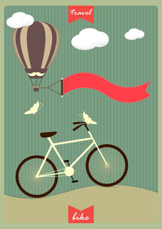 Vintage background with bicycle,  hot air balloon and place for your text. Celebration card. Birthday concept.  Vector