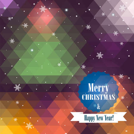 Christmas and New Year greeting card. Geometric pattern of triangle. Defocused background.  Vector