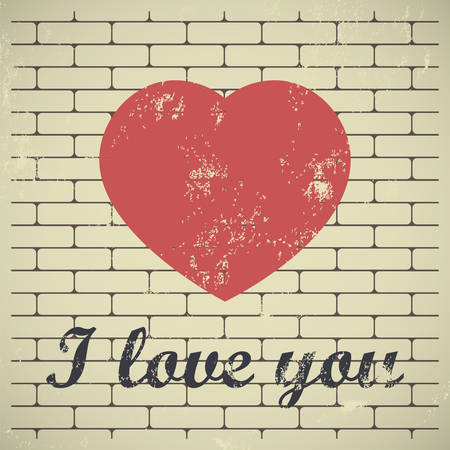 I love you. Grunge red heart on brick wall background Vector