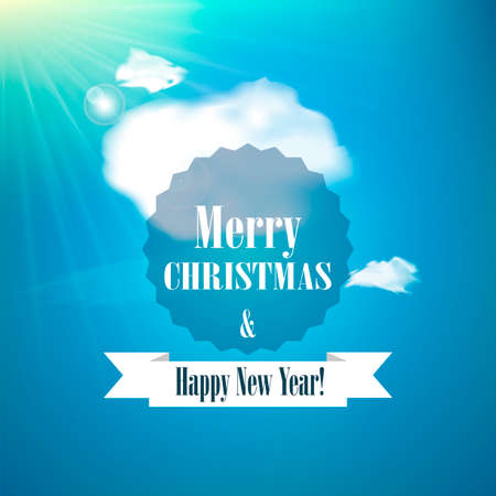 Merry Christmas and Happy new year card. Holiday background. Sunny day background with clouds. Vector illustration. Vector