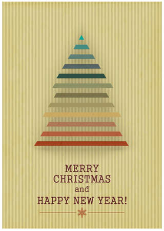 Retro Merry Christmas with Christmas Tree on a Vintage background.   Vector