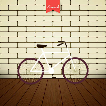 Illustration bicycle over brick wall. I love my bicycle. City bike. Vector