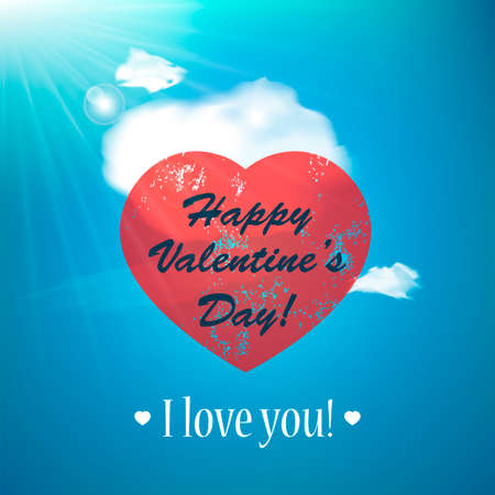 Valentines Day Background with Heart. Love concept. Holiday background. Sunny day background with clouds. Vector illustration. Vector