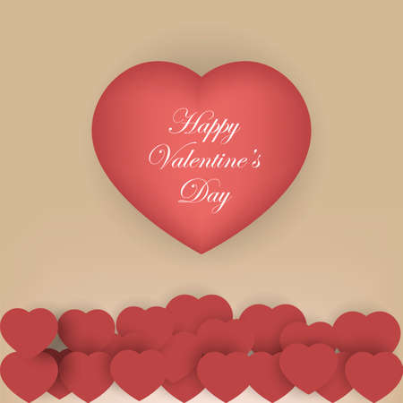 st valentin: Valentines day background with red origami paper hearts. Vector illustration