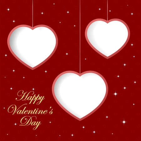 intent: Valentines day background with three hearts. Banner