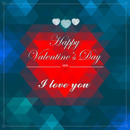 st valentin: Vector Geometric Mosaic Heart for Valentines Day Design. Vector illustration