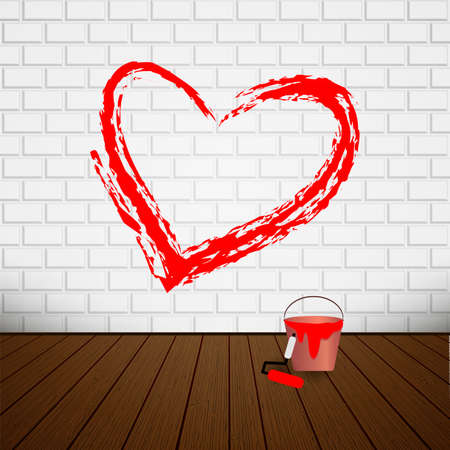 Valentines Day Background with Heart. Hand-drawn painted red heart. Vector