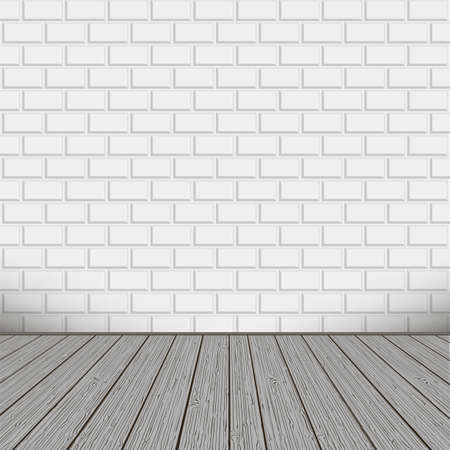 Bricks wall with wooden floor, background Illustration