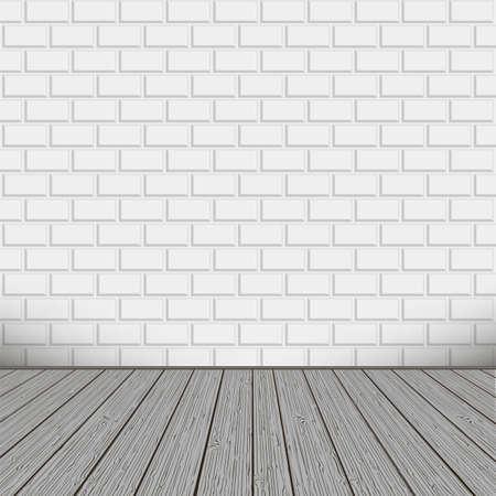 tarima madera: Ladrillos de la pared con el piso de madera, fondo