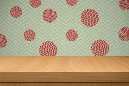 Background with retro wallpaper and empty wooden table. Ready for product montage display. Free space for your text
