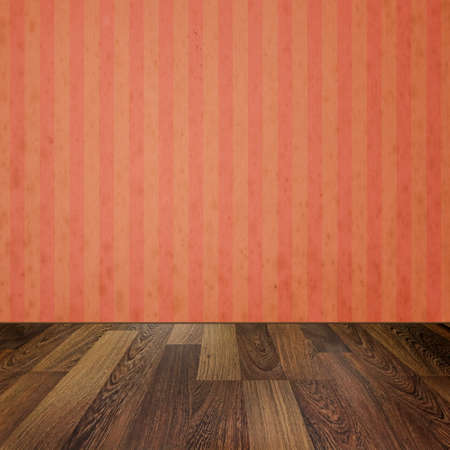 wooden floors: Empty room with wooden floors and vintage striped wallpaper Stock Photo