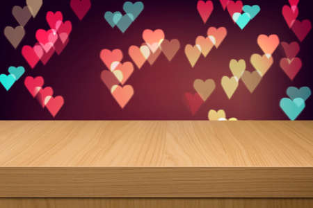 holiday lights display: Holiday background with empty wooden table and heart bokeh lights. Valentines Day Background with Hearts. Love concept.  Ready for product montage display