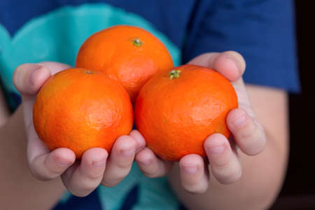 dietology: Babys hands holding tangerine.  Healthy eating concept. Stock Photo