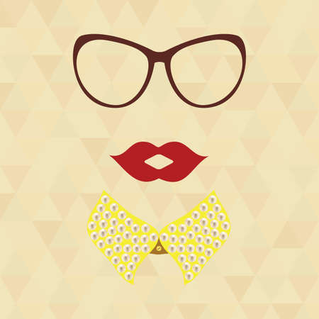 pearls and threads: Hipster lady. Vintage hipster background. Print for your T-shirts.