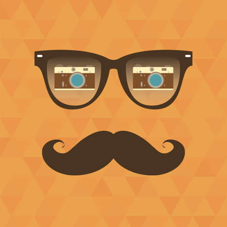sunglasses reflection: Vintage hipster background. Sunglasses reflection camera. Print for your T-shirts. Illustration