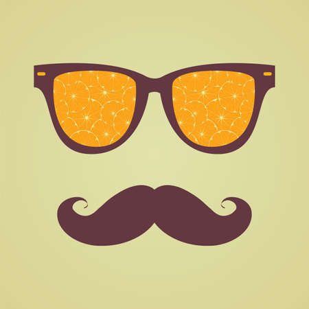 sunglasses reflection: Vintage hipster background. Sunglasses reflection orange. Print for your T-shirts. Healthy eating concept