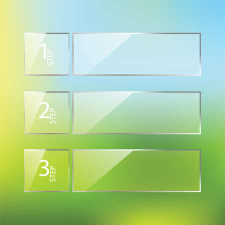 Vector glossy One Two Three steps, progress options banners with colorful tags. Vector illustration Vector