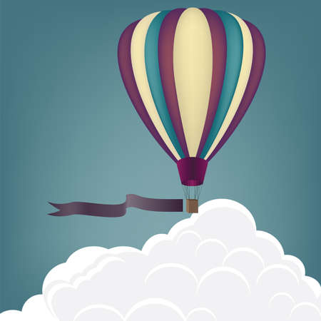 Hot Air Balloon on a background of clouds. vector illustration Vector