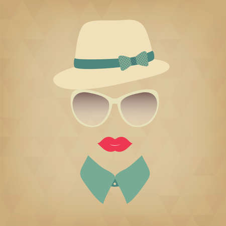 Hipster girl. Vintage hipster background. Print for your T-shirts.