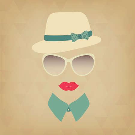 Hipster  girl. Vintage hipster background. Print for your T-shirts. Иллюстрация