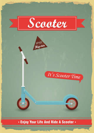 Vintage push scooter poster design. Hipster Theme. childrens theme Vector
