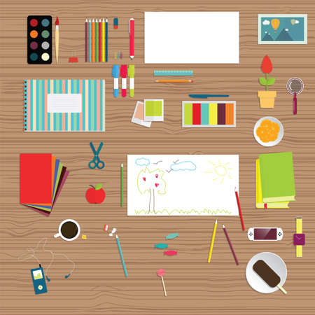 Set of flat educational objects. Background of school supplies Vector