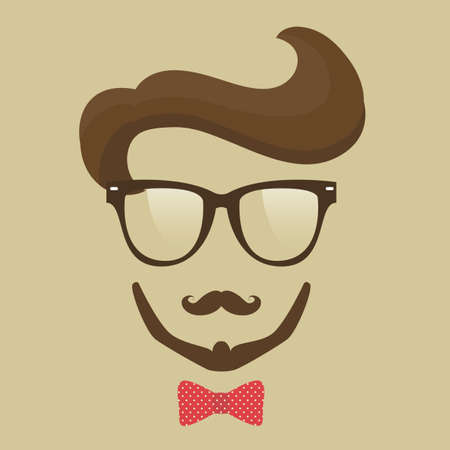 Hipster  man. Glasses, mustache, beard and bow tie Vector
