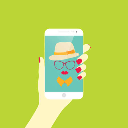 stylish girl: Young stylish girl taking self photo icon. Selfie.Vector illustration